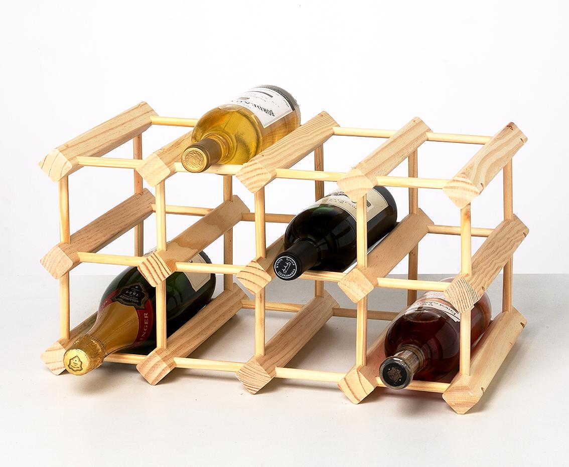 12 flaskors vinställ i massivt obehandlat trä (4×2) Svenska HemmaBaren